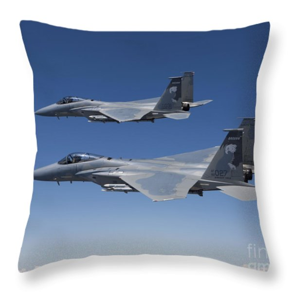 Two F-15 Eagles Conduct Air-to-air Throw Pillow by HIGH-G Productions
