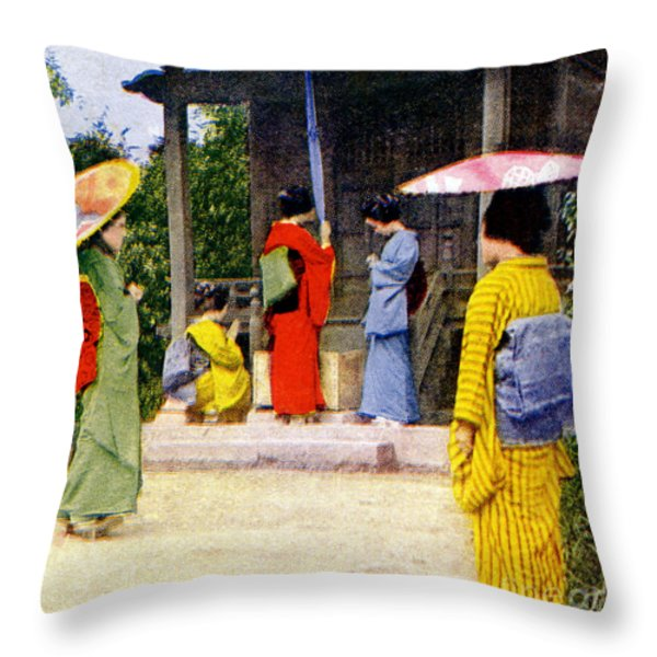 Vintage Japanese Art Throw Pillow by Hawaiian Legacy Archive - Printscapes