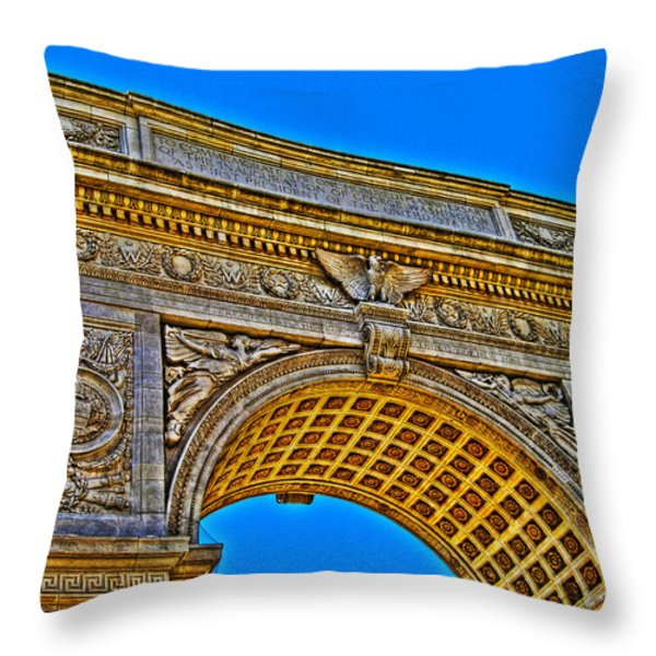Washington Square Arch Throw Pillow by Randy Aveille
