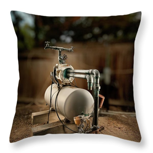 Well Pump Throw Pillow by Yo Pedro