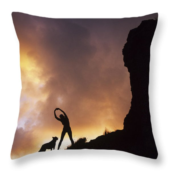 Woman Stretching On A Mountain Throw Pillow by Dana Edmunds - Printscapes