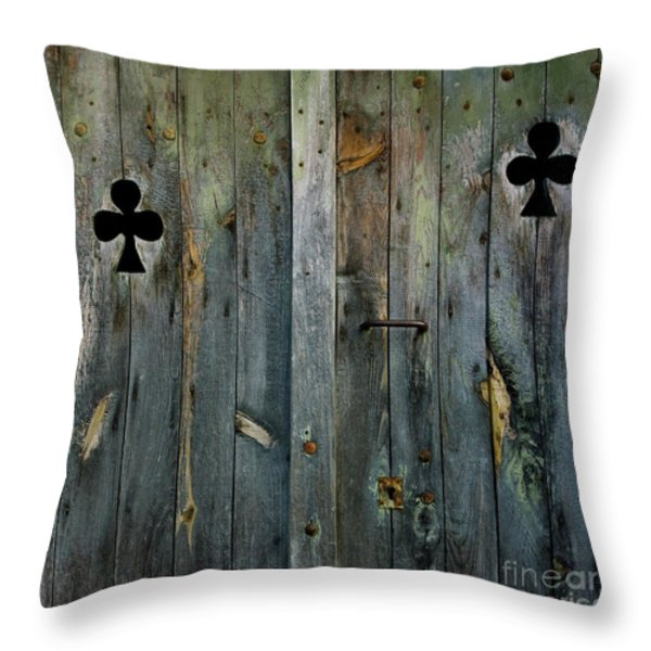 Wooden door Throw Pillow by BERNARD JAUBERT