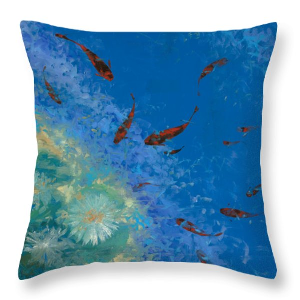 13 pesciolini rossi Throw Pillow by Guido Borelli