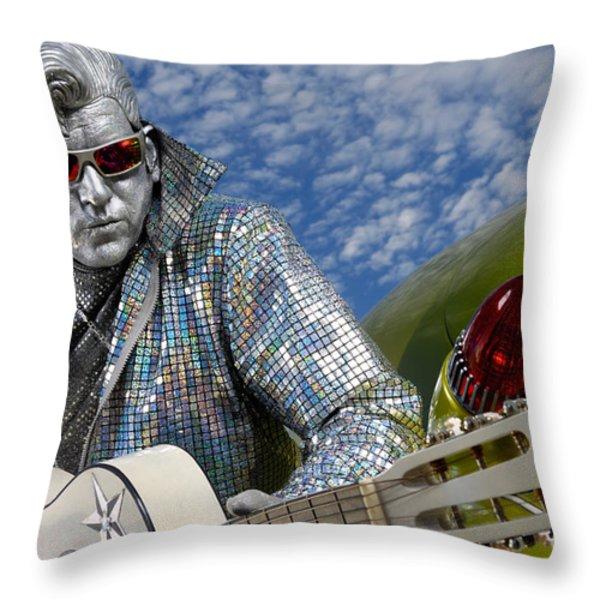 Silver Elvis Throw Pillow by Oleksiy Maksymenko