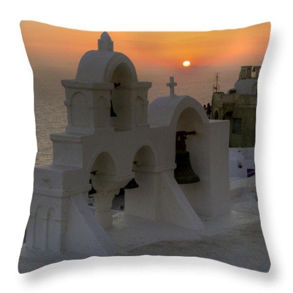 Oia - Santorini Throw Pillow by Joana Kruse