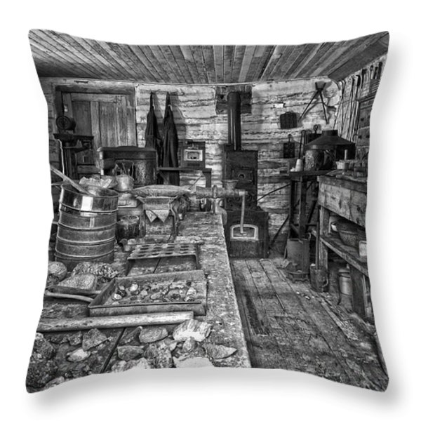 1860's ORE ASSAY OFFICE SHOP - MONTANA Throw Pillow by Daniel Hagerman