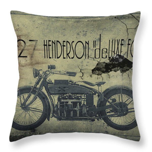 1927 Henderson Vintage Motorcycle Throw Pillow by Cinema Photography