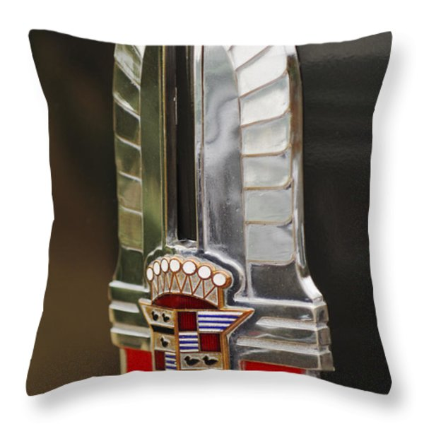 1930's Cadillac Emblem Throw Pillow by Jill Reger
