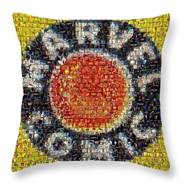 1930s Marvel Comics Mosaic Throw Pillow by Paul Van Scott