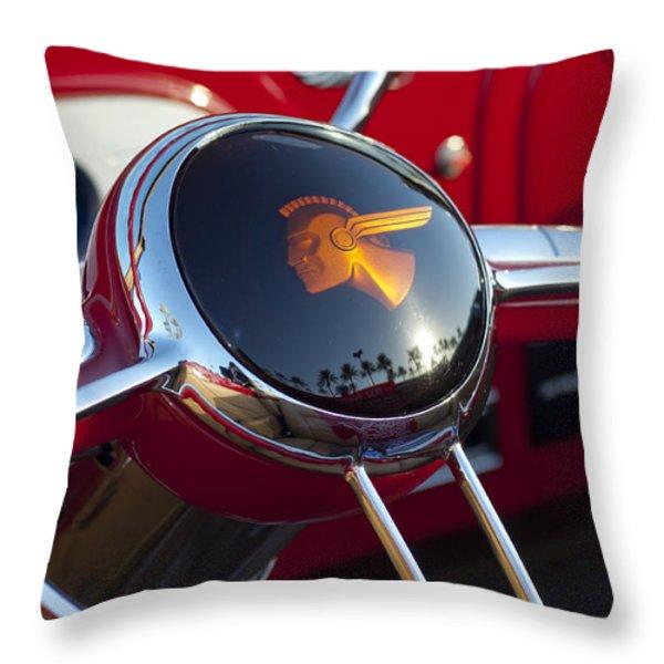 1933 Pontiac Steering Wheel Throw Pillow by Jill Reger