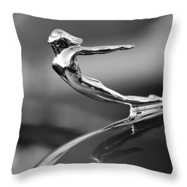 1936 Cadillac Hood Ornament 3 Throw Pillow by Jill Reger