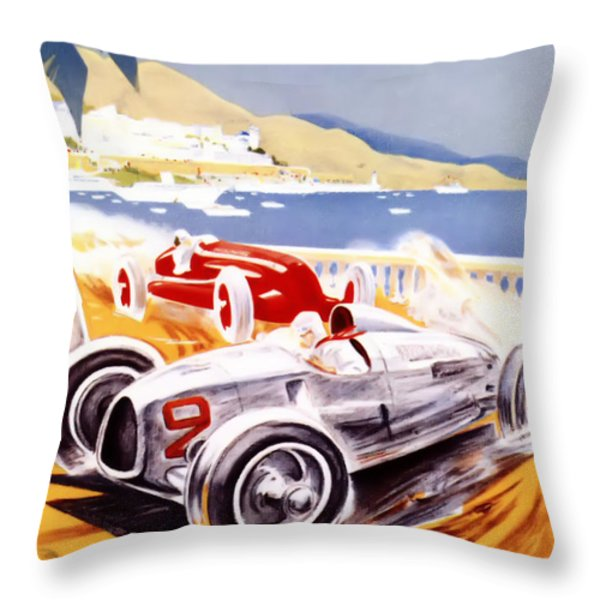 1936 F1 Monaco Grand Prix  Throw Pillow by Nomad Art And  Design