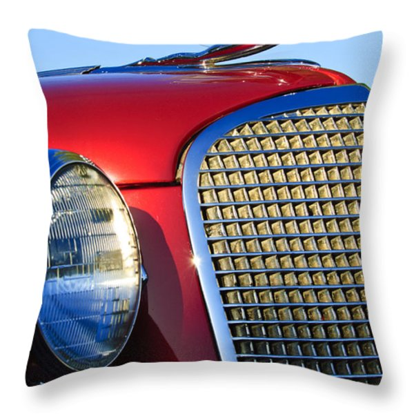 1937 Cadillac V8 Hood Ornament 2 Throw Pillow by Jill Reger