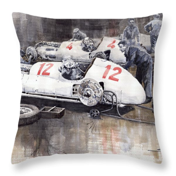 1938 Italian Gp Mercedes Benz Team Preparation In The Paddock Throw Pillow by Yuriy  Shevchuk