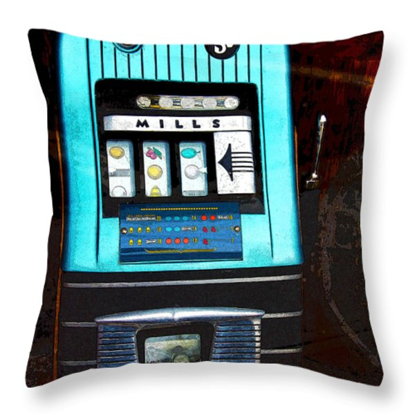 1945 Mills High Top 5 Cent Nickel Slot Machine Throw Pillow by Karon Melillo DeVega