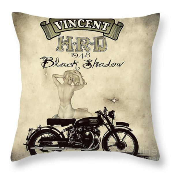 1948 Vincent Black Shadow Throw Pillow by Cinema Photography