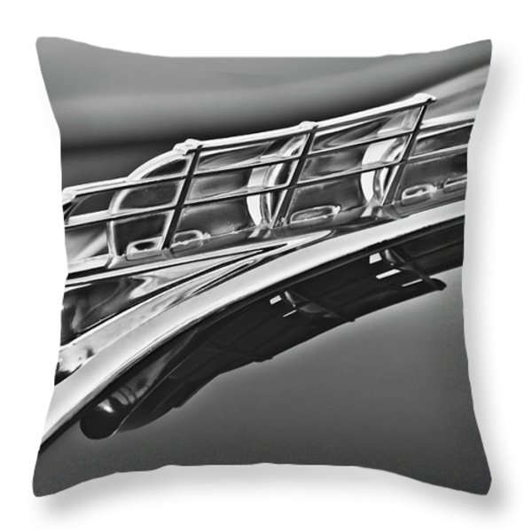 1949 Plymouth Hood Ornament 2 Throw Pillow by Jill Reger