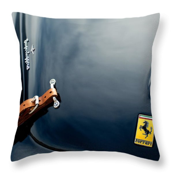 1950 Ferrari Hood Emblem Throw Pillow by Jill Reger
