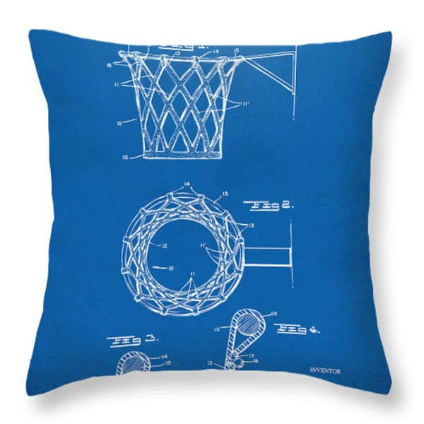 1951 Basketball Net Patent Artwork - Blueprint Throw Pillow by Nikki Marie Smith