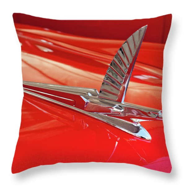 1954 Ford Cresline Sunliner Hood Ornament 2 Throw Pillow by Jill Reger