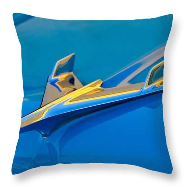 1956 Chevrolet Hood Ornament 2 Throw Pillow by Jill Reger