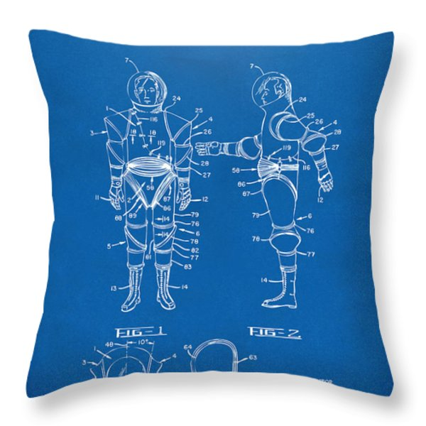 1968 Hard Space Suit Patent Artwork - Blueprint Throw Pillow by Nikki Marie Smith