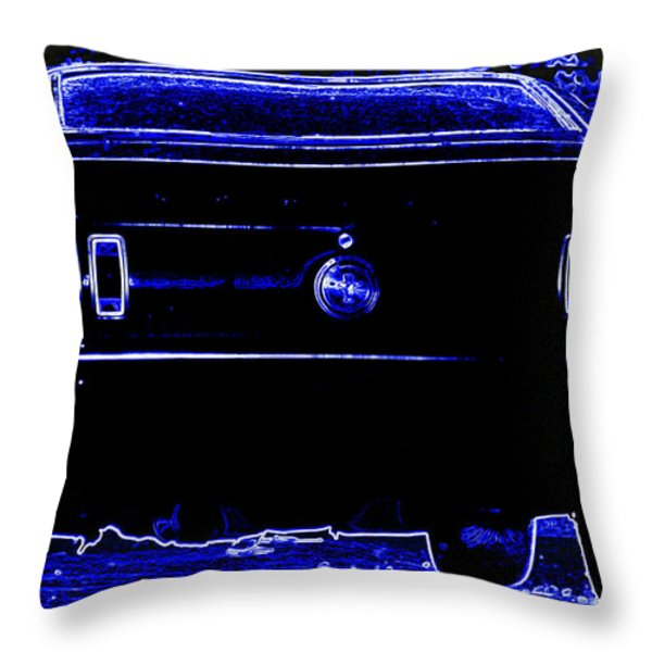1969 Mustang in Neon 2 Throw Pillow by Susan Bordelon