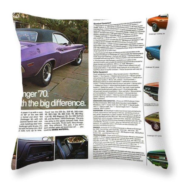 1970 Dodge Challenger Throw Pillow by Digital Repro Depot