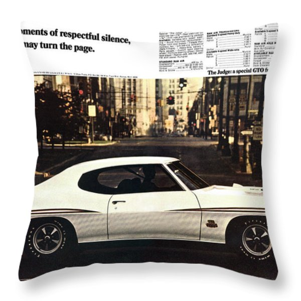1970 Pontiac Gto The Judge  Throw Pillow by Digital Repro Depot