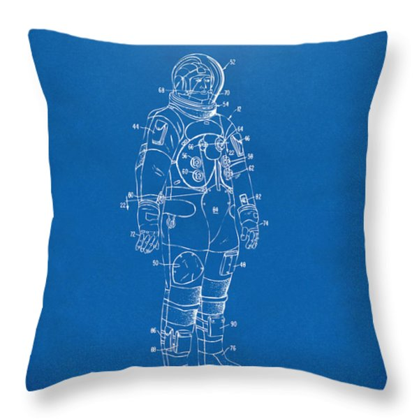 1973 Astronaut Space Suit Patent Artwork - Blueprint Throw Pillow by Nikki Marie Smith