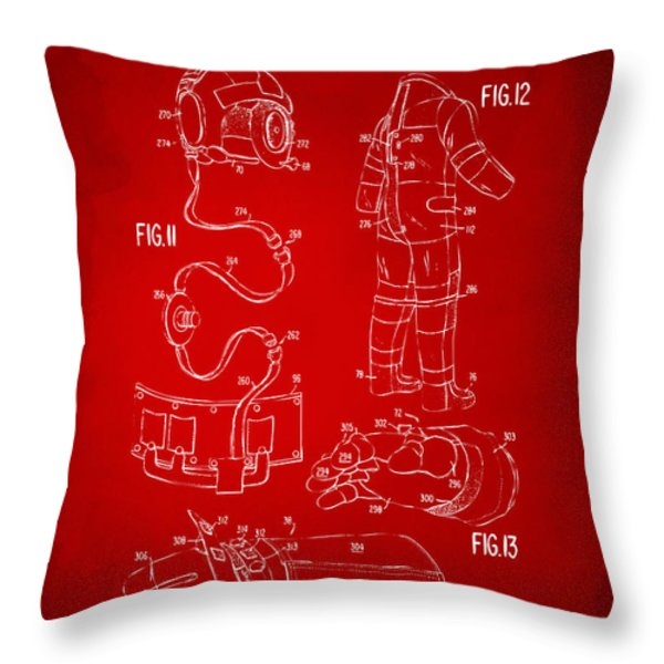 1973 Space Suit Elements Patent Artwork - Red Throw Pillow by Nikki Marie Smith