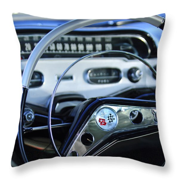 1958 Chevrolet Impala Steering Wheel Throw Pillow by Jill Reger
