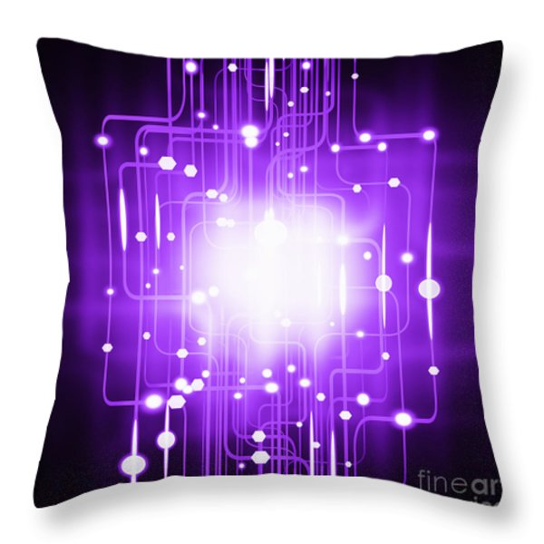 abstract circuit board lighting effect  Throw Pillow by Setsiri Silapasuwanchai