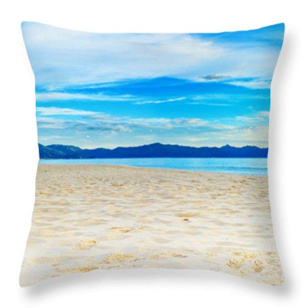Beach Panorama Throw Pillow by MotHaiBaPhoto Prints