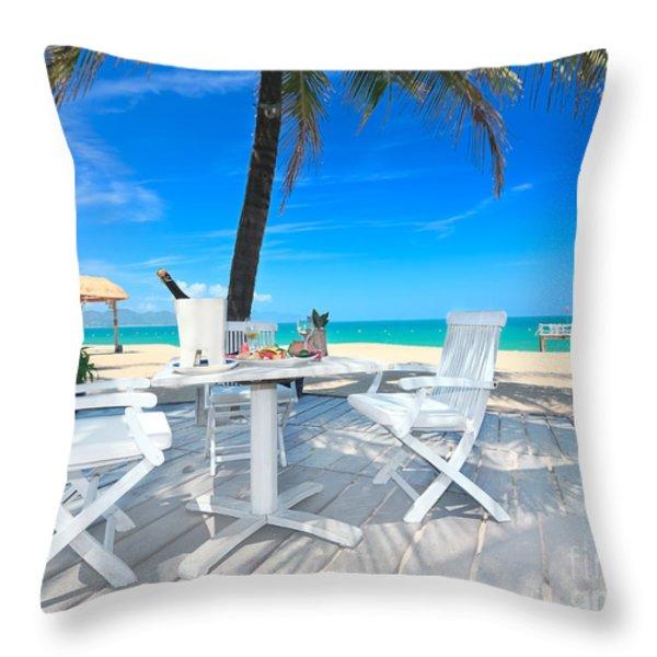 Dinner on the beach Throw Pillow by MotHaiBaPhoto Prints