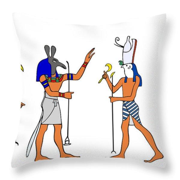 Egyptian Gods And Goddess Throw Pillow by Michal Boubin