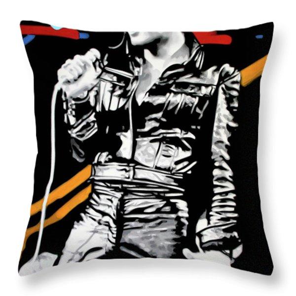 Elvis Throw Pillow by Luis Ludzska