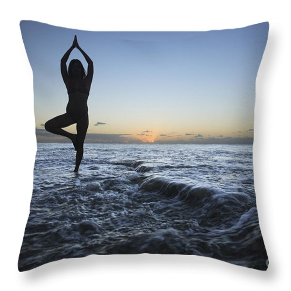 Female doing Yoga at sunset Throw Pillow by Brandon Tabiolo - Printscapes