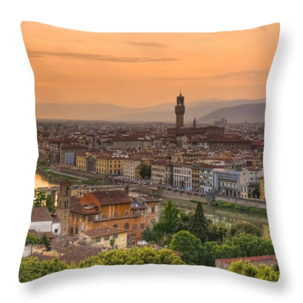 Florence Sunset Throw Pillow by Mick Burkey