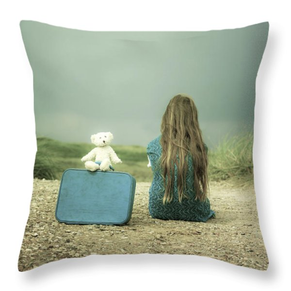 Girl In The Dunes Throw Pillow by Joana Kruse