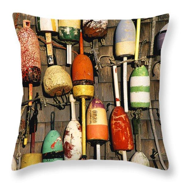 Lobster Buoys. Throw Pillow by John Greim