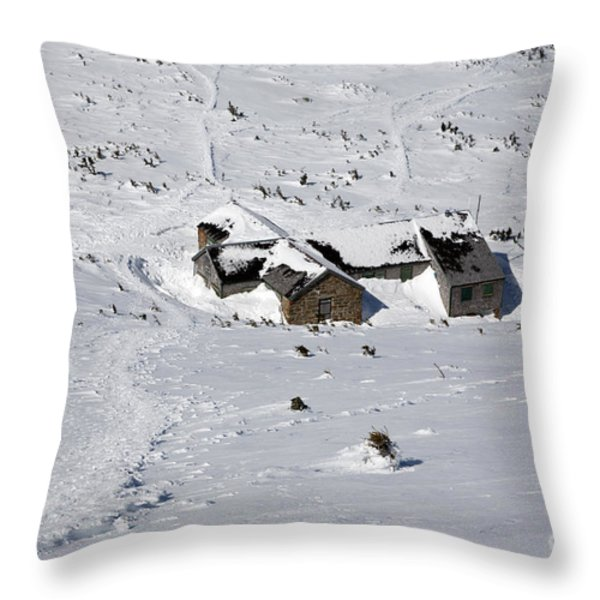 Madison Spring Hut- White Mountains New Hampshire Throw Pillow by Erin Paul Donovan