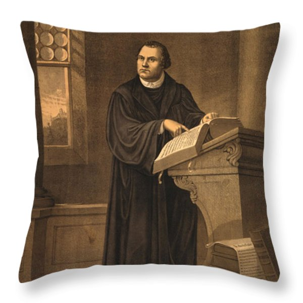Martin Luther, German Theologian Throw Pillow by Photo Researchers