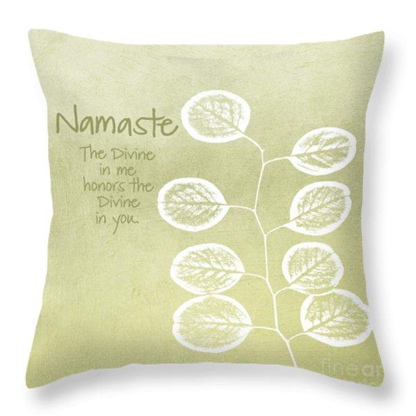 Namaste Throw Pillow by Linda Woods