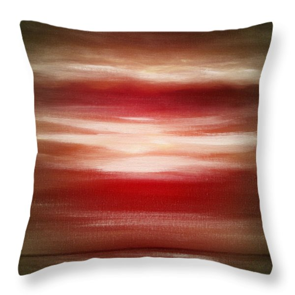 Throw Pillows - Red Abstract Sunset Throw Pillow by Gina De Gorna
