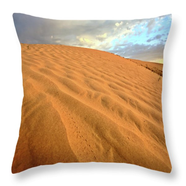 Sand dune at Great Sand Hills in scenic Saskatchewan Throw Pillow by Mark Duffy
