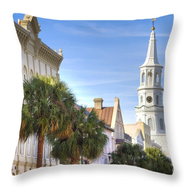 St Michaels Church Charleston SC Throw Pillow by Dustin K Ryan