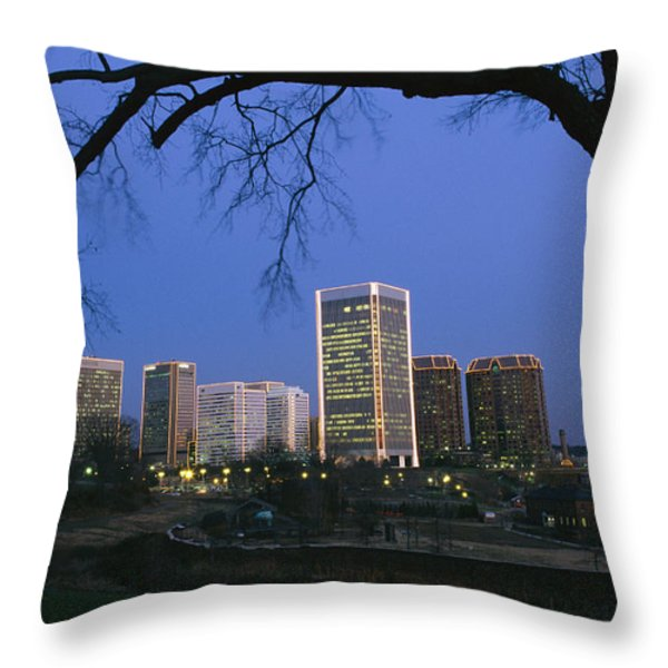 The Richmond, Virginia Skyline Throw Pillow by Medford Taylor