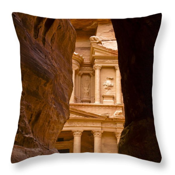 The Treasury Of Petra Throw Pillow by Michele Burgess