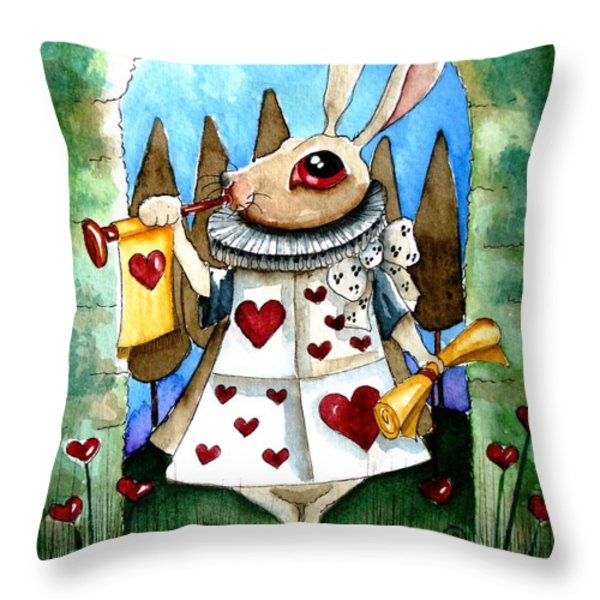 The white rabbit Throw Pillow by Lucia Stewart